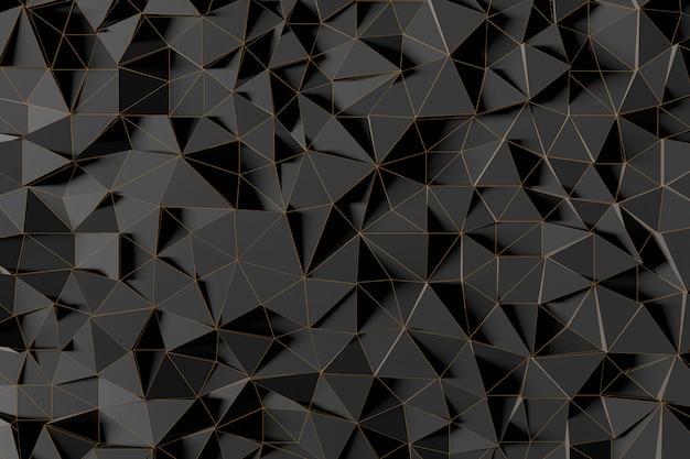 Fondo futurista abstracto de baja poli de triángulos negros con una rejilla dorada luminosa. representación 3d minimalista en negro.