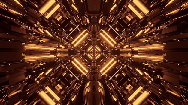 Fondo futurista de ciencia ficción abstracta con luces de neón doradas