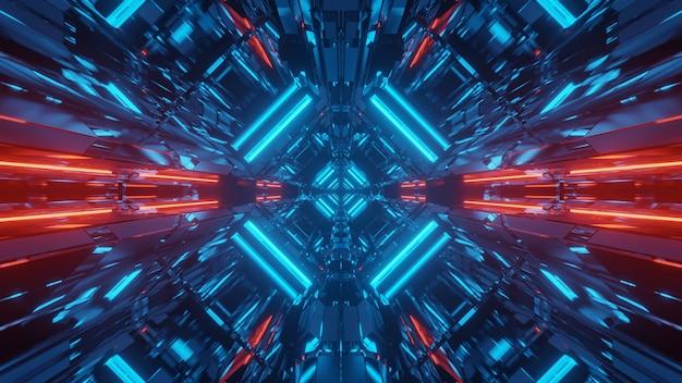 Fondo futurista de ciencia ficción abstracta con luces de neón rojas y azules