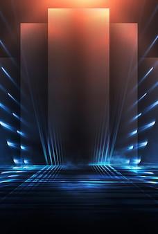 Fondo futurista oscuro abstracto los rayos de luz de neón azul se reflejan en el agua