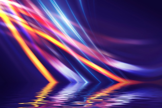 Fondo futurista oscuro abstracto. rayos de luz de neón reflejados desde el agua. fondo de espectáculo de escenario vacío, fiesta en la playa.
