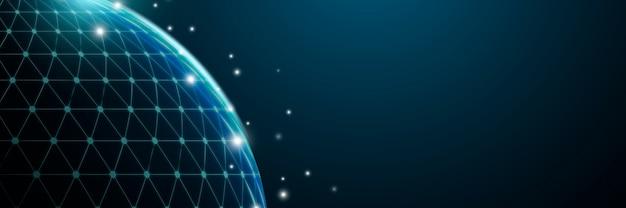 Fondo futurista de rejilla digital globo
