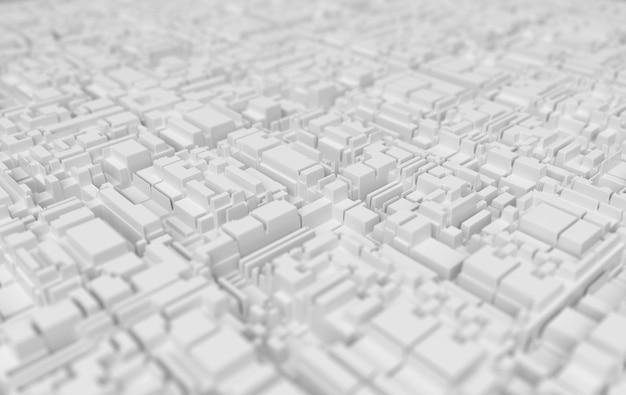 Fondo futurista tecnológico abstracto blanco. profundidad del efecto de campo. representación 3d