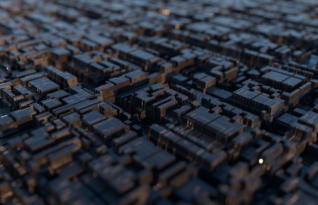 Fondo futurista tecnológico abstracto, chip cuadrado. profundidad del efecto de campo. representación 3d