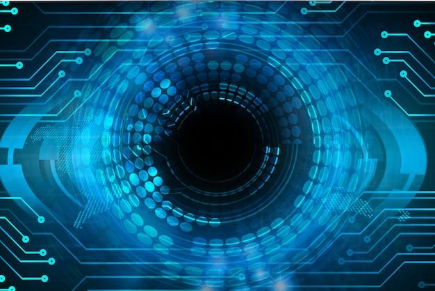 Fondo futuro de la tecnología del circuito cibernético del ojo azul