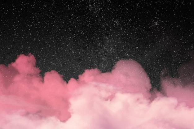 Fondo de galaxia con nubes rosas