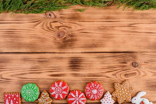 Fondo de galletas de jengibre caseras de navidad