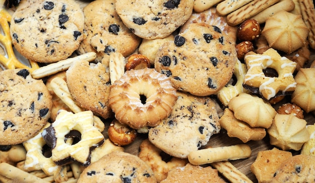 Fondo de galletas mixtas de cerca