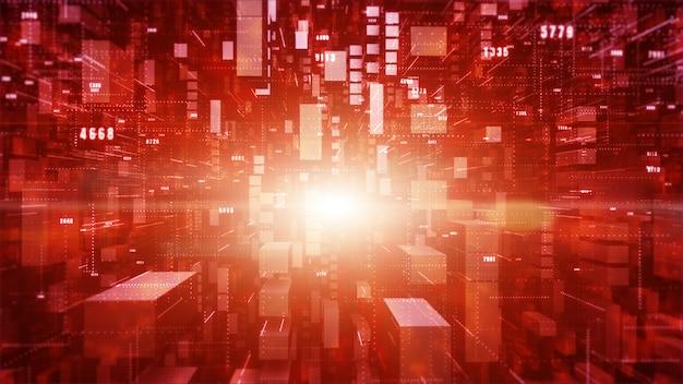 Fondo geométrico del ciberespacio digital con partículas y conexiones de red de datos digitales.