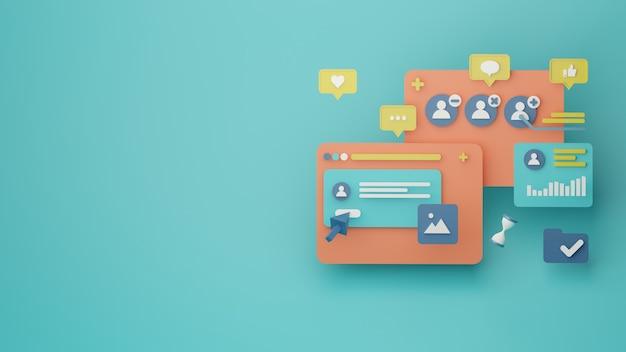 Fondo de gestión de cuentas de redes sociales 3d renderizado