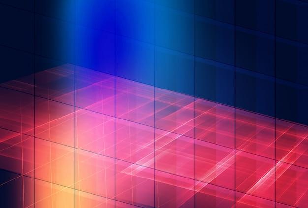 Fondo gráfico abstracto del espacio digital en 3d con rejilla y múltiples efectos brillantes