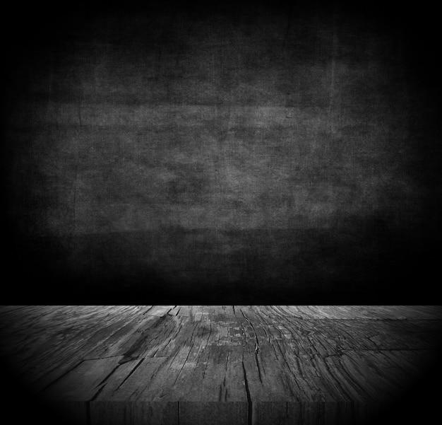 Fondo de grunge 3d con mesa de madera oscura