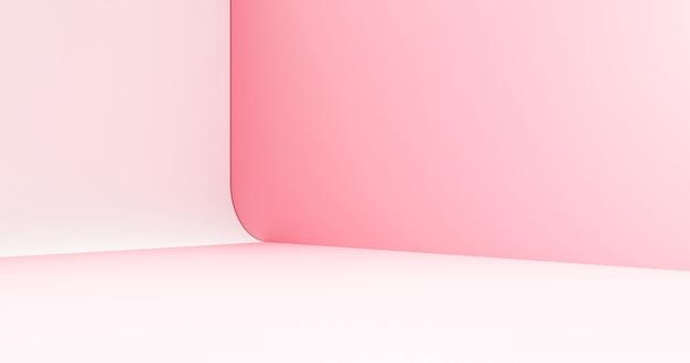 El fondo de la habitación de la esquina mínima del producto rosado abstracto o la exhibición en colores pastel del pedestal de la etapa del podio moderno y la escena de la plataforma del espacio en blanco se colocan en el escaparate del contexto de la belleza con el estudio cosmético. representación 3d.