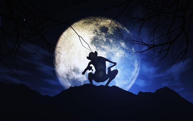 Fondo de halloween 3d con criatura contra el cielo iluminado por la luna