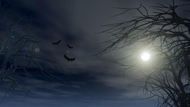 Fondo de halloween con árboles espeluznantes contra un cielo iluminado por la luna
