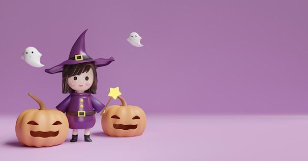 Fondo de halloween con bruja linda y calabazas.