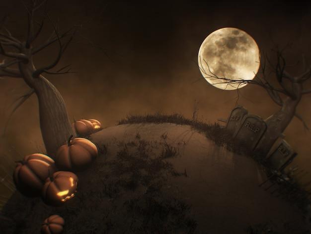 Fondo de halloween con cementerio de jack o lantern y árbol muerto en el cementerio espeluznante renderizado 3d