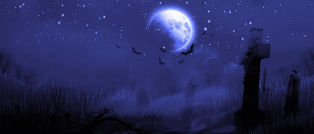 Fondo de halloween con cementerio en una noche espeluznante.