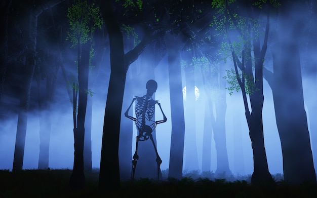 Fondo de halloween de un esqueleto en un bosque de niebla