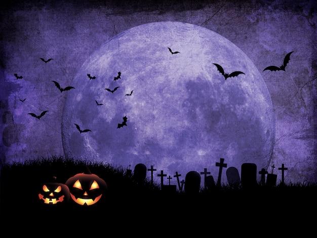 Fondo de halloween grunge con cementerio contra el cielo iluminado por la luna