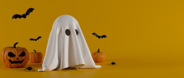Fondo de halloween con lindo fantasma sonriendo calabazas y murciélagos sobre fondo amarillo 3d render