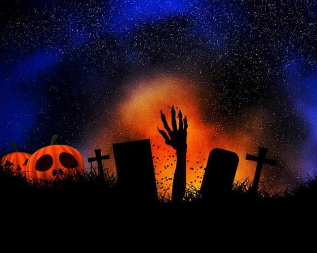 Fondo de halloween con mano de zombie saliendo del suelo