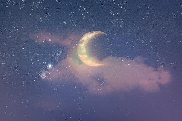Fondo hermoso cielo nocturno con media luna y estrellas