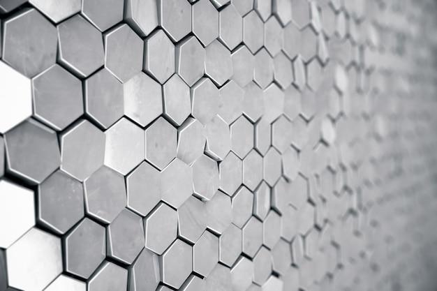 Fondo hexagonal abstracto plata con efecto de profundidad de campo. estructura de una gran cantidad de hexágonos. textura de pared de panal de acero, fondo de racimos hexagonales brillantes, representación 3d