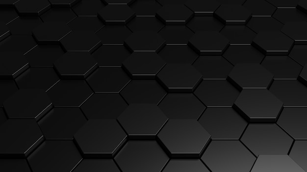 Fondo hexagonal negro abstracto 3d