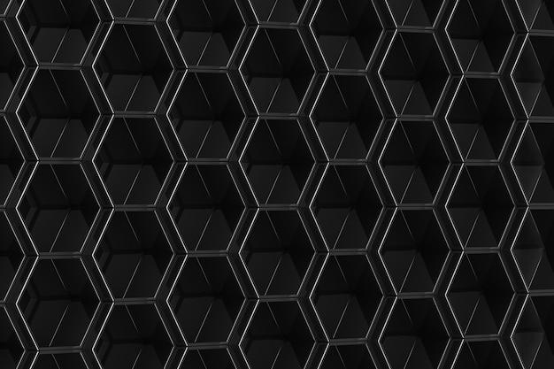 Fondo hexagonal negro. ilustración 3d