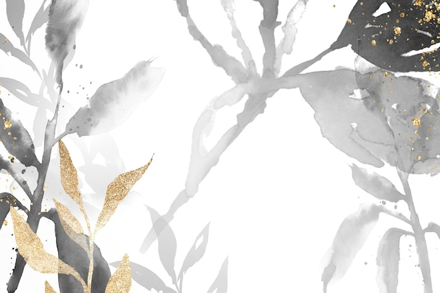 Fondo de hoja de acuarela en escala de grises hermosa ilustración floral