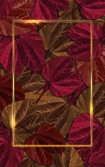 Fondo de hoja marco dorado y gotas de bokeh ilustración 3d