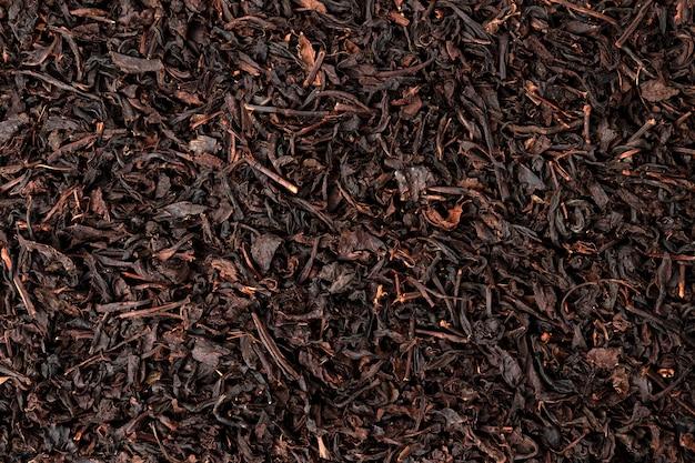 Fondo de hojas de té secas o textura