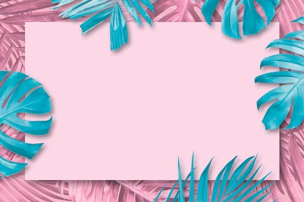 Fondo de hojas tropicales de verano con estilo minimalista de copia espacio