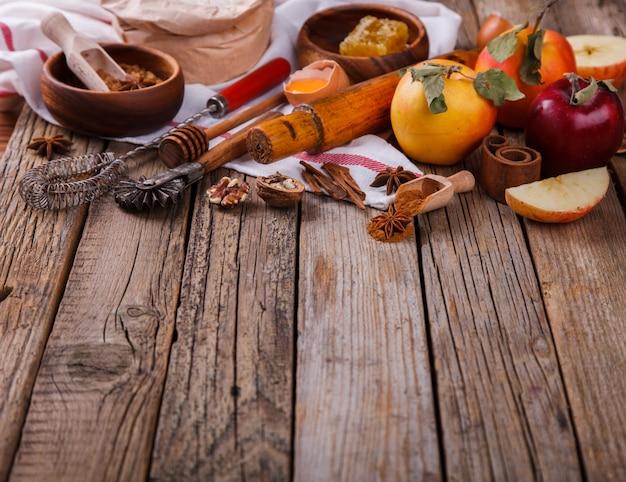 Fondo para hornear. ingredientes para hornear pastel de manzana