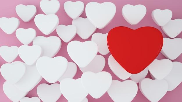 Fondo de ilustraciones del día de valentin - representación 3d 3d