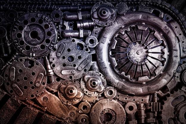 Fondo industrial de maquinaria de acero.