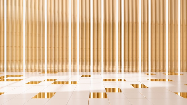 Fondo interior de luz de pared dorada .3d render
