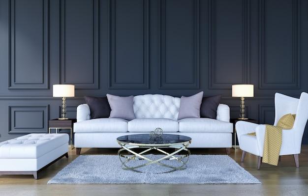 Fondo interior de la sala de estar de lujo clásico moderno con mock up marco del cartel