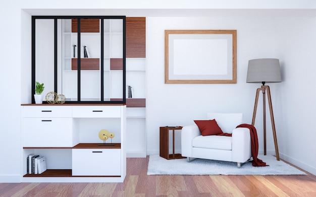 Fondo interior de la sala de estar de lujo moderna con mock up marco de cartel vacío, representación 3d
