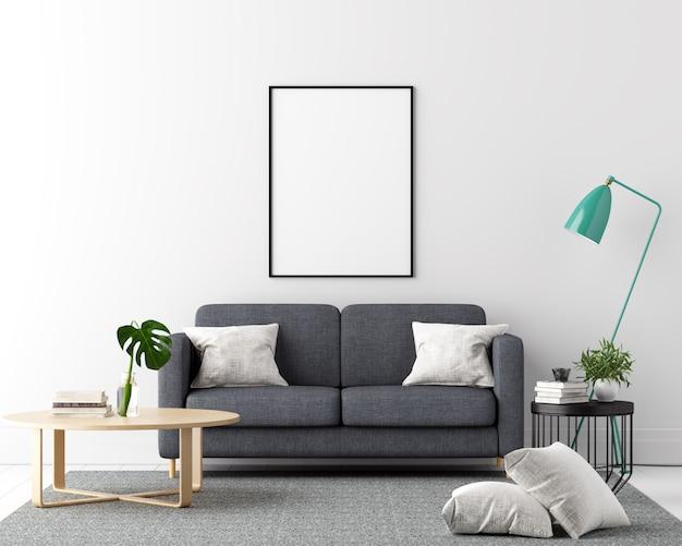 Fondo de interior de sala de estar de marco de cartel