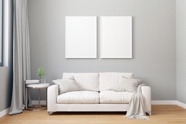 Fondo interior de sala de estar moderna, estilo escandinavo, ilustración 3d