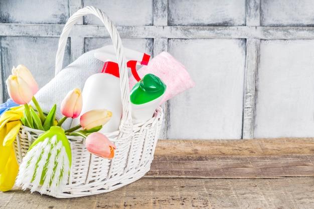 Fondo de limpieza y limpieza doméstica de primavera