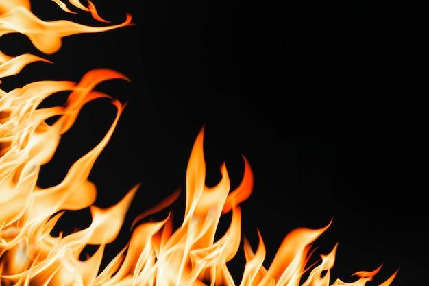 Fondo de llama ardiente, imagen realista de borde de fuego
