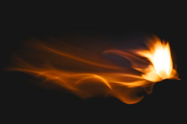 Fondo de llama oscura, imagen realista de fuego