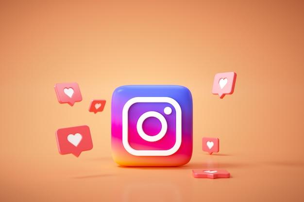 Fondo del logotipo de la aplicación instagram 3d. plataforma de redes sociales instagram.