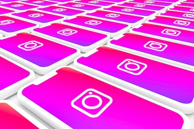 Fondo del logotipo de instagram en la pantalla del teléfono inteligente o render 3d móvil