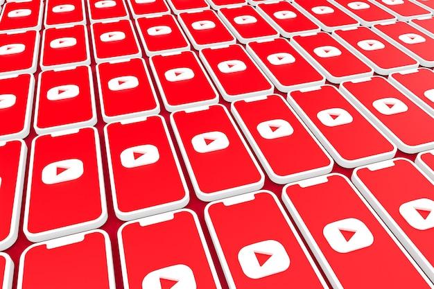 Fondo del logotipo de youtube en la pantalla del teléfono inteligente o render 3d móvil