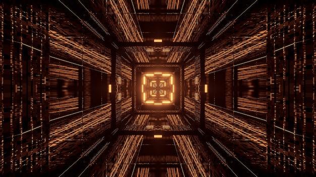 Fondo de luces de neón de corredor de túnel futurista