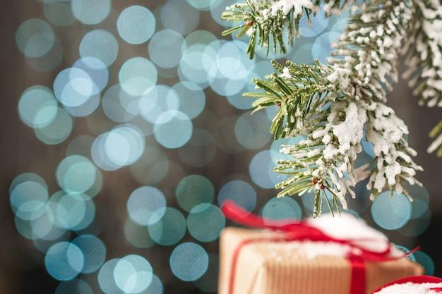 Fondo de luz de vacaciones de navidad azul borrosa bokeh